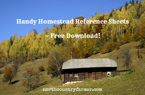 Handy Homestead Reference Sheets ~  Free Download!